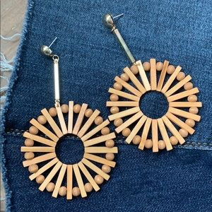 Wood Bead Sunburst Drop Earrings